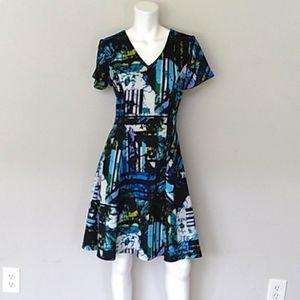Beautiful Bold Blue/Black Fit & Flare Dress.